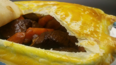 Port Wine Braised Venison with Puff Pastry